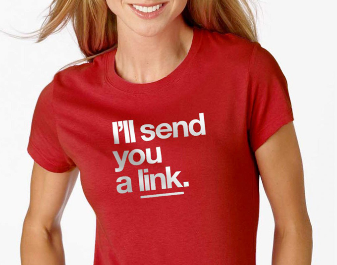 Photo of woman wearing send me a link t-shirt