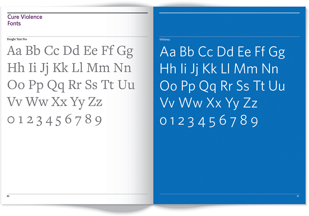 Page of style guide that shows fonts.