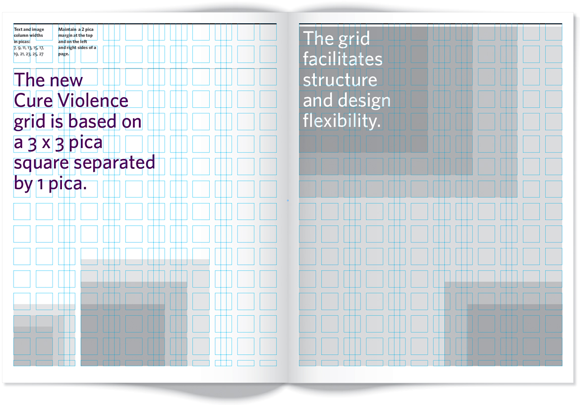 Page of style guide that shows the grid.