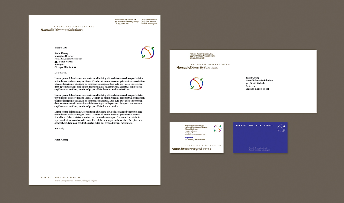 Nomadic Diversity Solutions Letterhead, Envelope, and Business Card