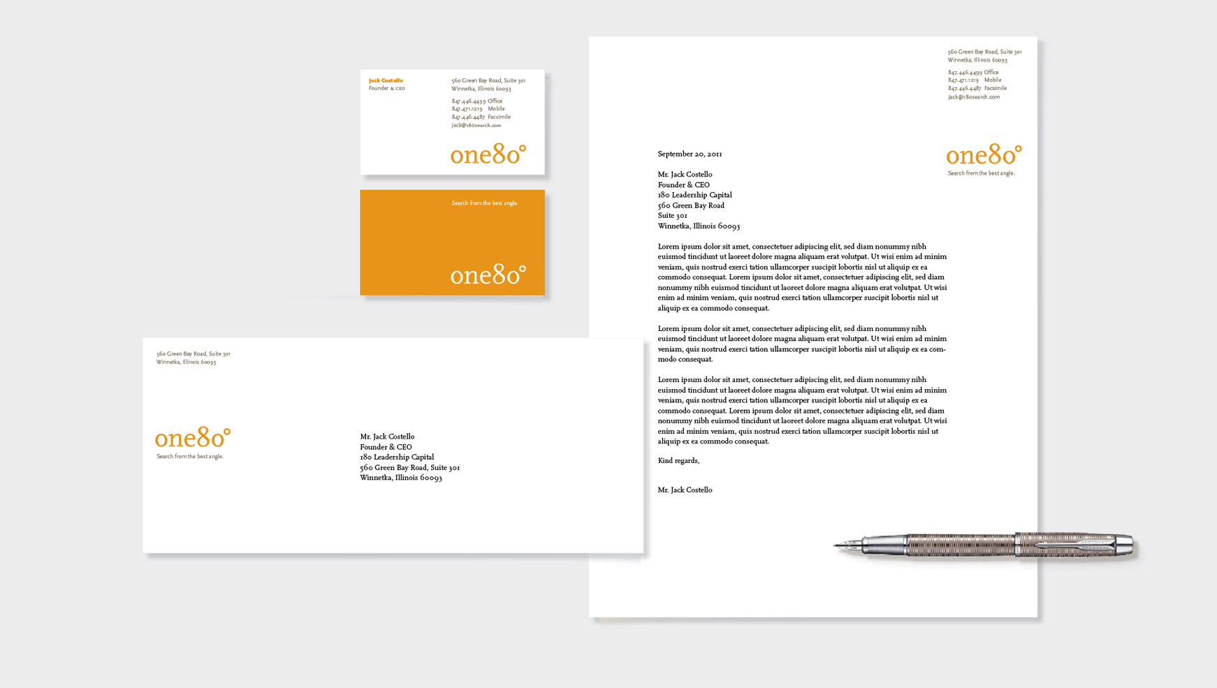 one80 letterhead, envelope, and business card.